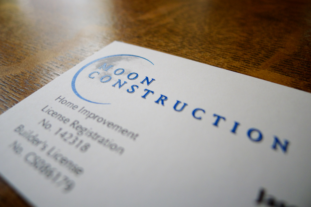 Moon Construction business card